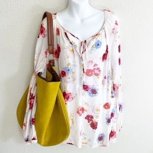 Lucky Brand Cream Floral Long Sleeve Loose Blouse